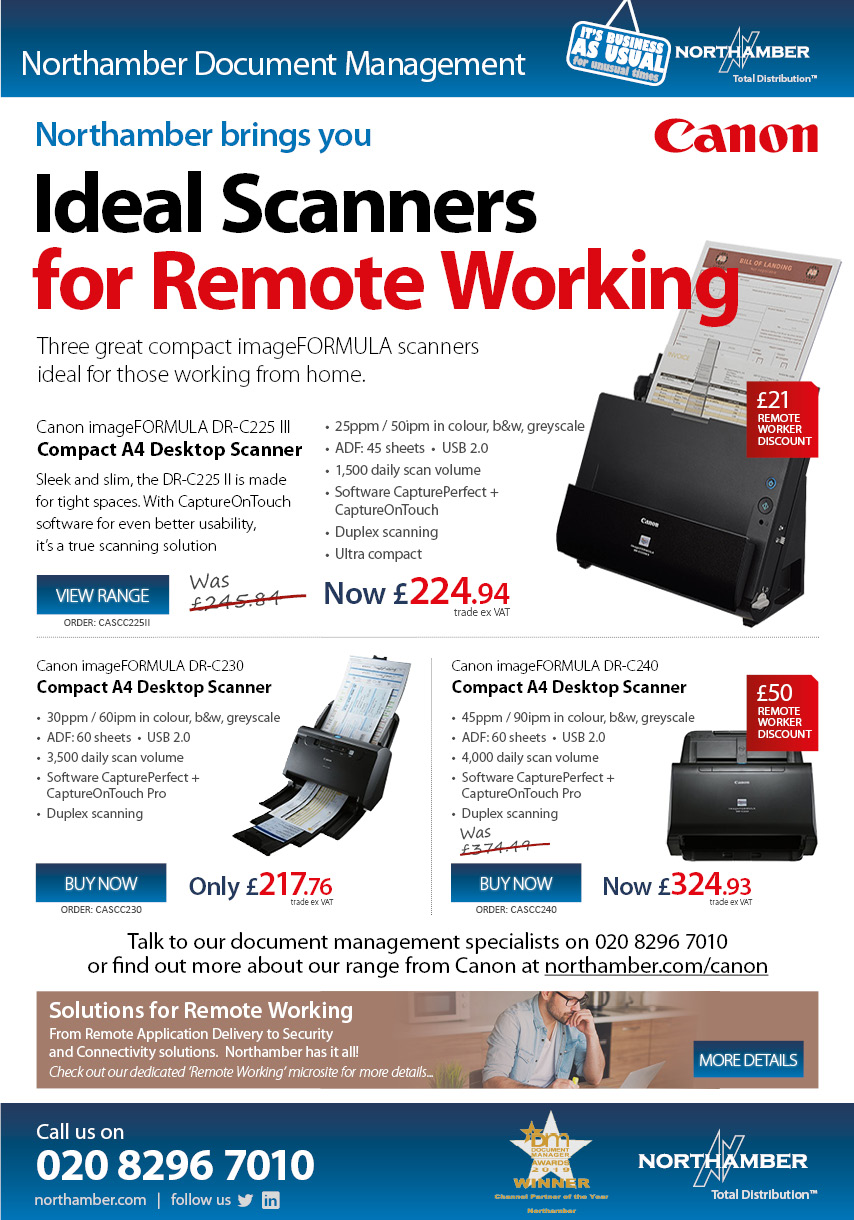 Up to £50 Extra Profit on Canon Scanners for Remote Working