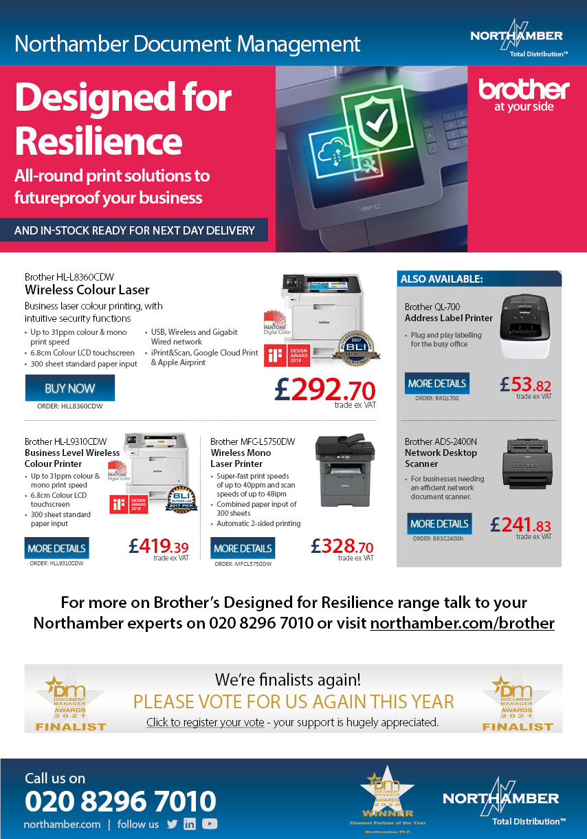 Brother Printers in-stock and ready for next day delivery - call 020 8296 7010 today!